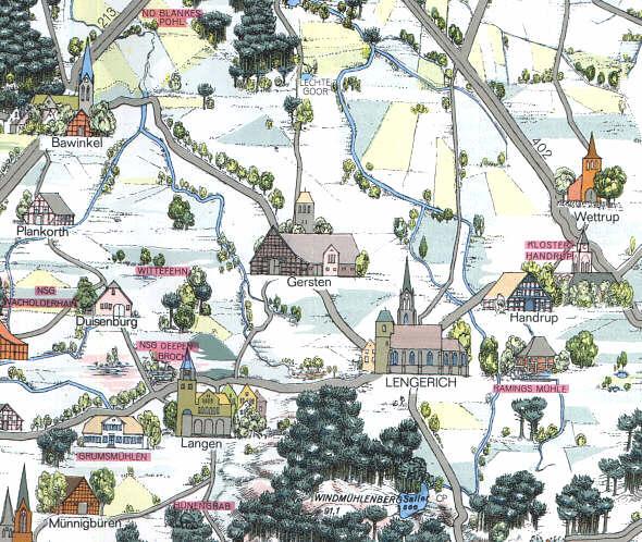 Emsland Karte.Heimatarchiv De Emsland Karte Mit Sehenswürdigkeiten
